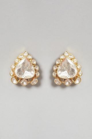 Gold Plated Polki Handcrafted Earrings In Sterling Silver by Zeeya Luxury Jewellery