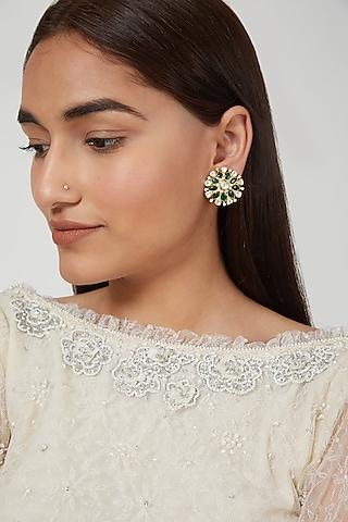 Gold Plated Earrings With Polkis In Sterling Silver by Zeeya Luxury Jewellery