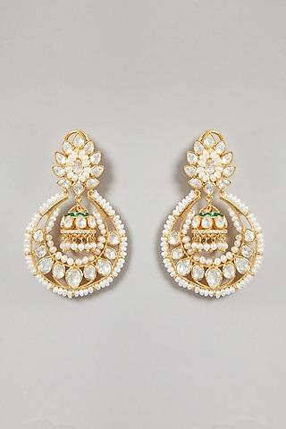 Gold Plated Moissanite Polki Earrings In Sterling Silver by Zeeya Luxury Jewellery