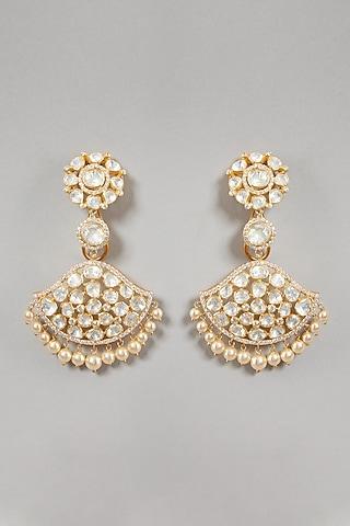 Gold Plated Handcrafted Moissanite Polki Earrings In Sterling Silver by Zeeya Luxury Jewellery