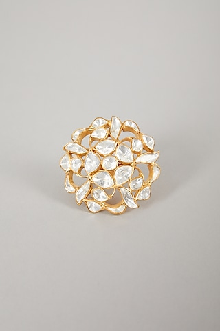 Gold Plated Ring With Moissanite Polki In Sterling Silver by Zeeya Luxury Jewellery