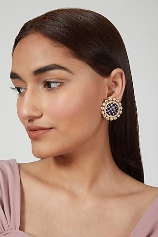 Gold Plated Earrings With Stones In Sterling Silver by Zeeya Luxury Jewellery