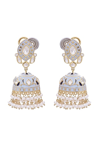 Gold Finish Meenakari Earrings With Pearls by Zeeya Luxury Jewellery