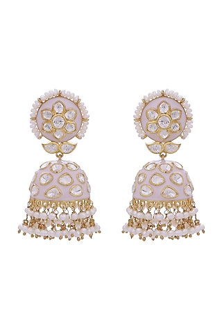 Gold Finish Meenakari Earrings With Kundans by Zeeya Luxury Jewellery