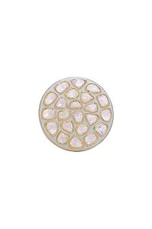 Gold Finish Meenakari Ring by Zeeya Luxury Jewellery
