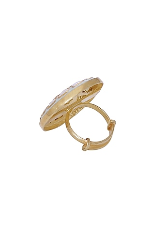 Gold Finish Meenakari Ring by Zeeya Luxury Jewellery