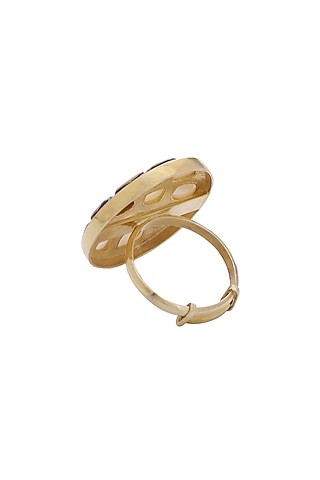 Gold Finish Mother Of Pearl Ring by Zeeya Luxury Jewellery
