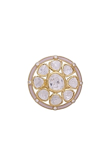 Gold Finish Kundan Adjustable Ring by Zeeya Luxury Jewellery