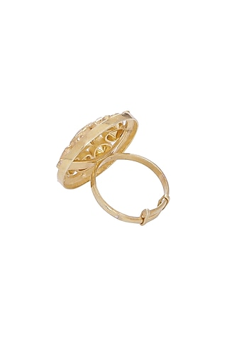 Gold Finish Kundan Adjustable Ring by Zeeya Luxury Jewellery