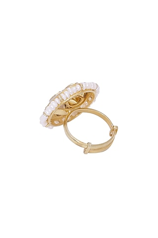 Gold Finish Pearl Adjustable Ring by Zeeya Luxury Jewellery