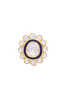 Gold Finish Kundan Meenakari Ring by Zeeya Luxury Jewellery