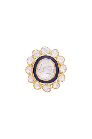 Gold Finish Kundan Meenakari Ring by Zeeya Luxury Jewellery