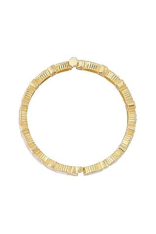 Gold Finish Openable Bangle by Zeeya Luxury Jewellery