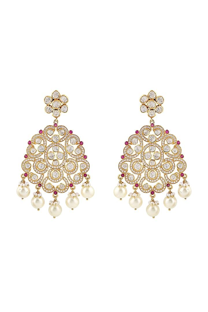 Gold Finish Ruby Meenakari Earrings by Zeeya Luxury Jewellery