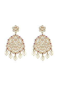 Gold Finish Ruby Meenakari Earrings by Zeeya Luxury Jewellery