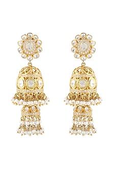 Gold Finish Meenakari Pearl Earrings by Zeeya Luxury Jewellery