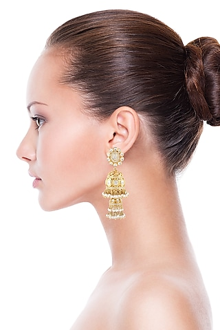 Gold Finish Meenakari Pearl Earrings by Zeeya Luxury Jewellery