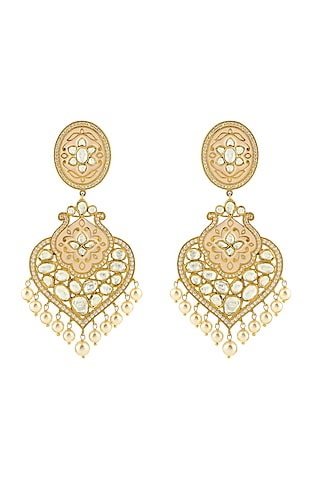 Gold Finish Pearl & Kundan Earrings by Zeeya Luxury Jewellery