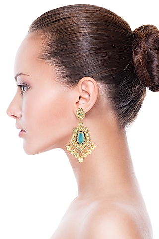 Gold Finish Turquoise Stone Earrings by Zeeya Luxury Jewellery