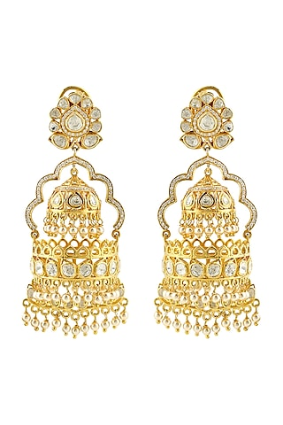 Gold Finish Kundan & Pearl Meenakari Earrings by Zeeya Luxury Jewellery