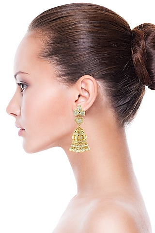 Gold Finish Handcrafted Kundan & Pearl Earrings by Zeeya Luxury Jewellery