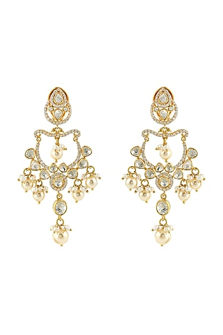 Gold Finish Meenakari Kundan & Pearl Earrings by Zeeya Luxury Jewellery