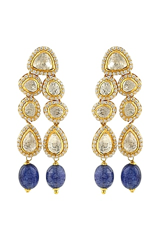 Gold Finish Sapphire Earrings by Zeeya Luxury Jewellery