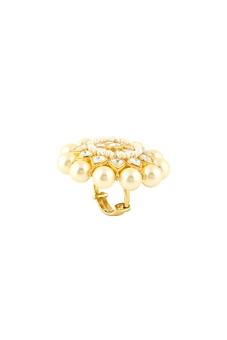 Gold Finish Handcrafted Adjustable Ring by Zeeya Luxury Jewellery