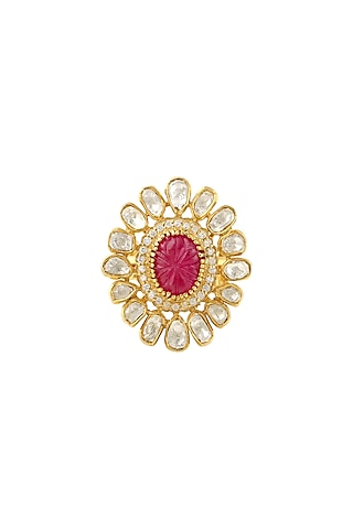 Gold Finish Ruby Adjustable Ring by Zeeya Luxury Jewellery