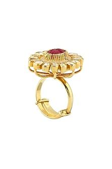 Gold Finish Ruby Adjustable Ring by Zeeya Luxury Jewellery
