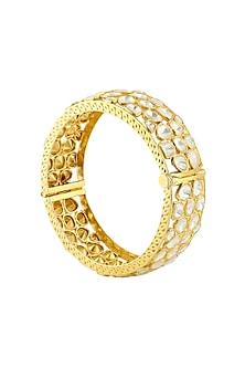 Gold Finish Kundan Openable Bangle by Zeeya Luxury Jewellery