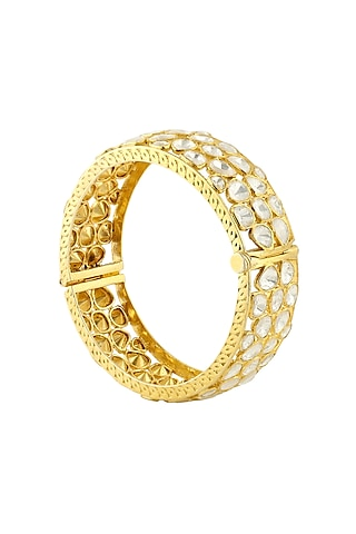 Gold Finish Kundan Openable Bangle by Zeeya Luxury Jewellery