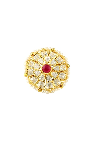 Gold Finish Ruby & Kundan Ring by Zeeya Luxury Jewellery