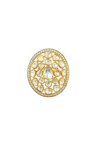 Gold Finish Adjustable Kundan Ring by Zeeya Luxury Jewellery