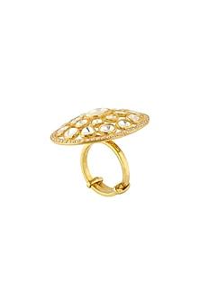Gold Finish Adjustable Kundan Ring by Zeeya Luxury Jewellery