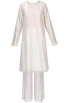 Ivory Textured Badla Work Kaftan With Wide Leg Pants by Zoraya