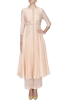 Peach Pearl Embroidered Afghani Jacket With Peach Wide Leg Pants by Zoraya