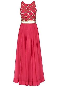Red Handcut Motifs Crop Top and Skirt Set by Zoraya