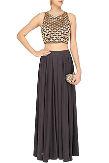 Brown Handcut Motifs Crop Top and Pleated Pants Set by Zoraya