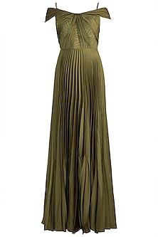 Olive Green Pleated Draped Gown by Zwaan