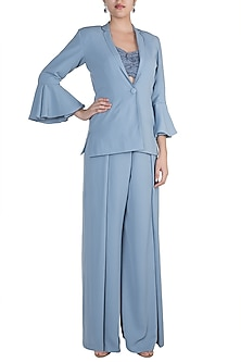 Blue Blazer With Flared Pants & Tube Bustier by Zwaan