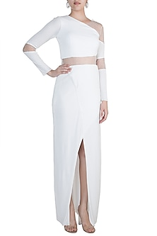 White Embellished Sheath Gown with Sheer Waist by Zwaan