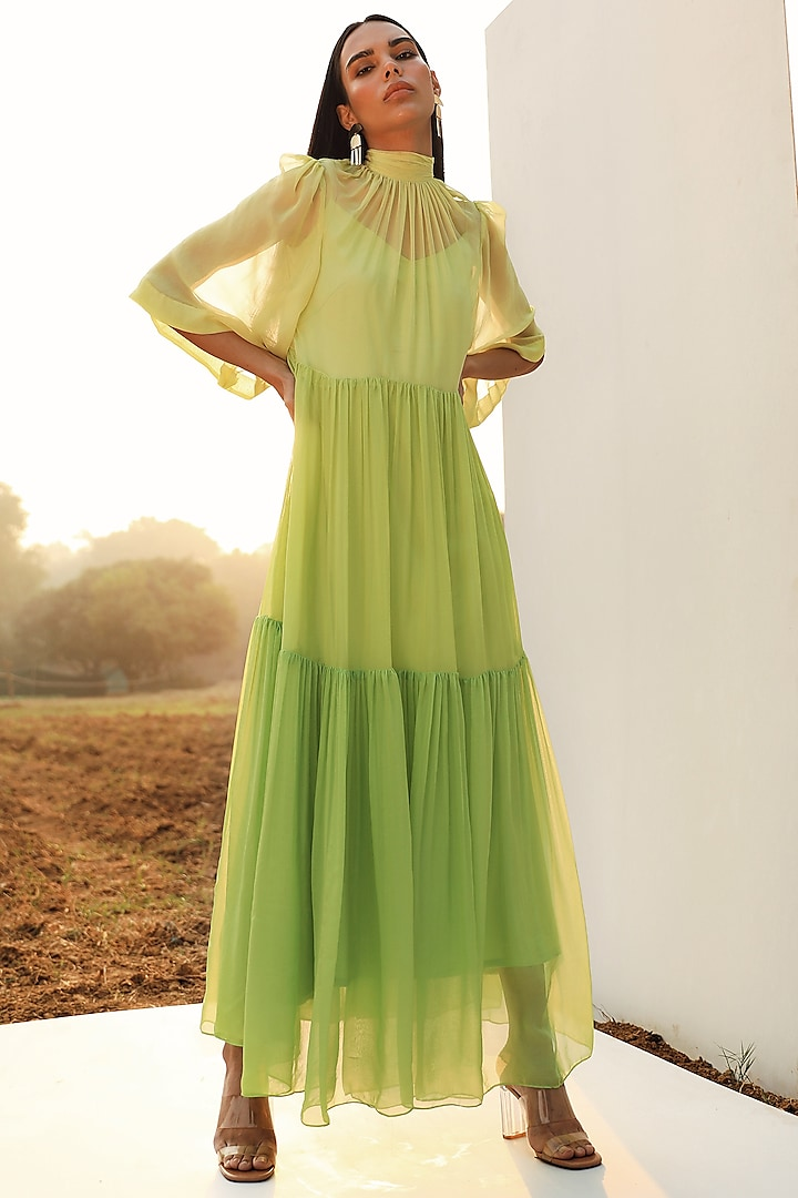 Citrus Color Blocked Tiered Dress With Inner Dress by Zwaan