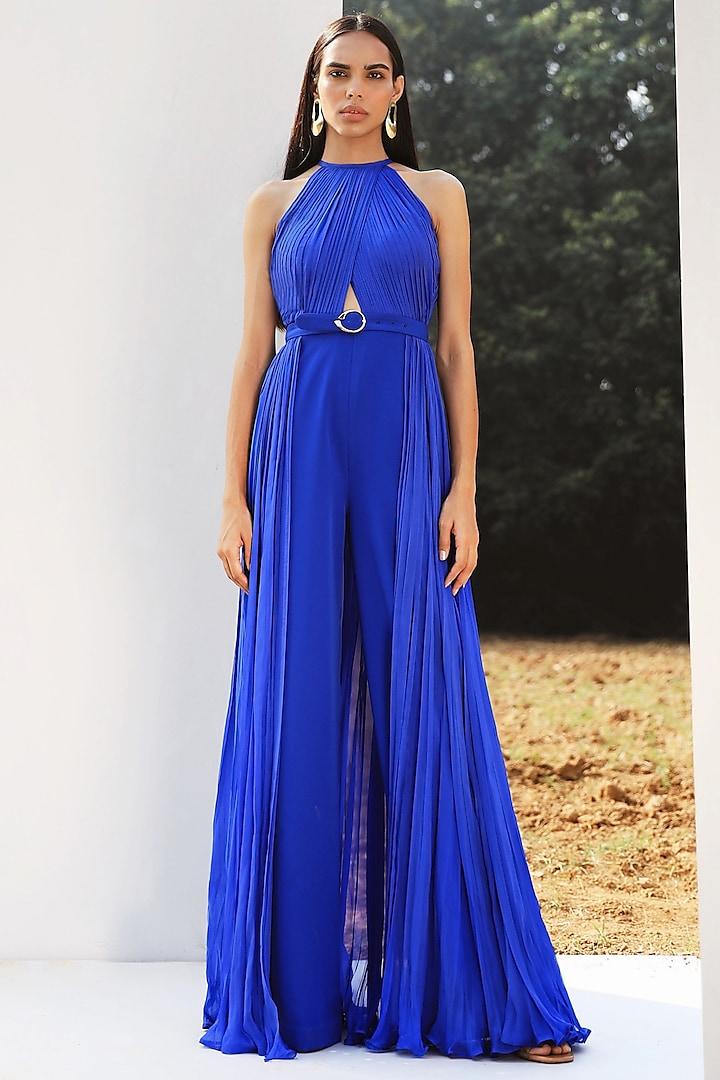 Royal Blue Draped Jumpsuit by Zwaan