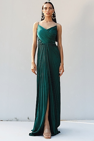 Bottle Green Handcrafted Pleated Draped Gown by Zwaan