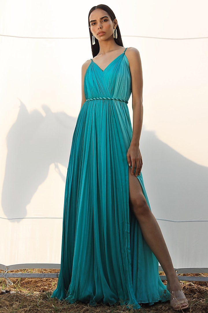 Teal Blue Paneled Gown by Zwaan