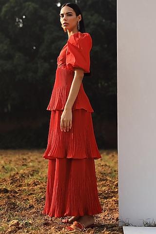 Red Taffeta Tiered Dress by Zwaan