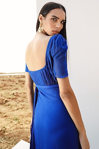 Royal Blue Draped Gown by Zwaan