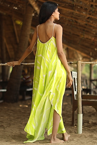 Citrus Colored High-Low Dress by Zwaan
