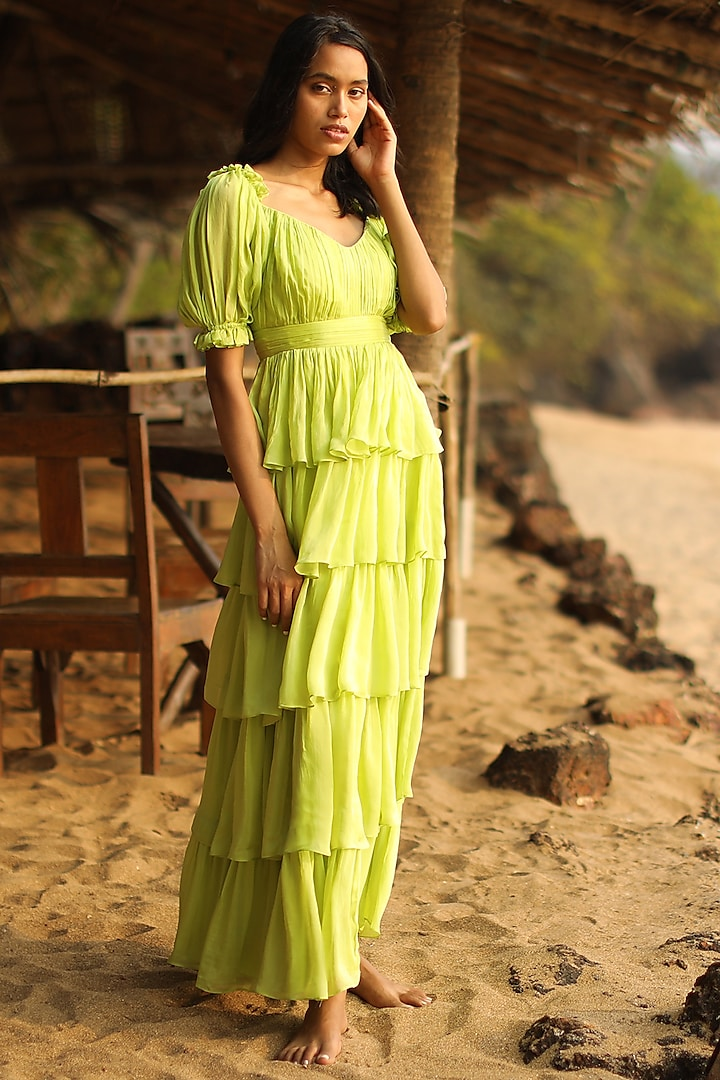 Green Draped Gown With Puff Sleeves by Zwaan